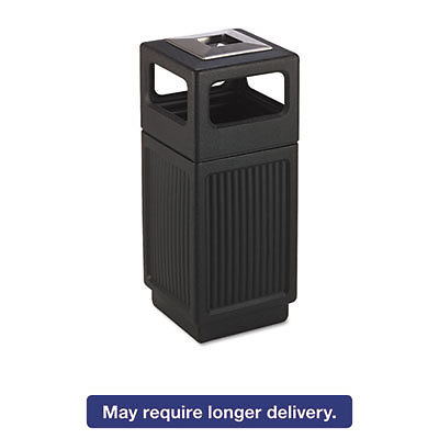 Canmeleon Ash/trash Receptacle, Square, Polyethylene, 15gal, Textured Black
