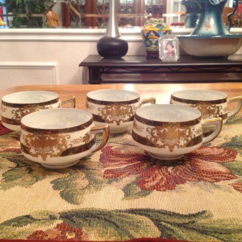 5-Vintage Kutani Porcelain Eggshell Tea Cups