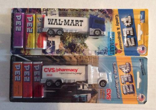 Pez Dispenser Walmart Exclusive Truck & CVS Truck Made In U.S.A For Display