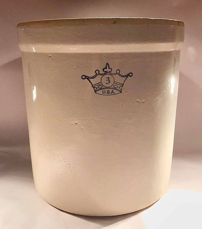 Vintage Blue Crown 3 Gallon Robinson Ransbottom Crock