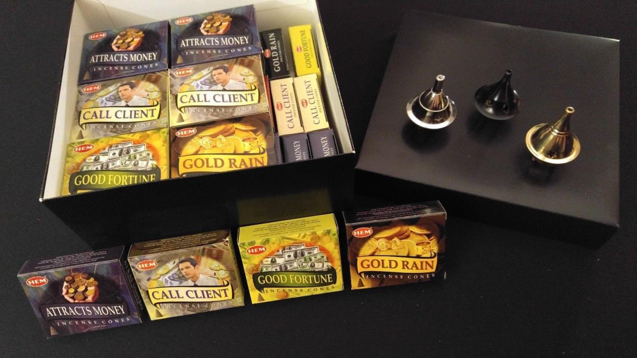 MONEY Incense Cones Set: 4 Scents x 10 Boxes Of 10 = 400 Cones + 3 Burners