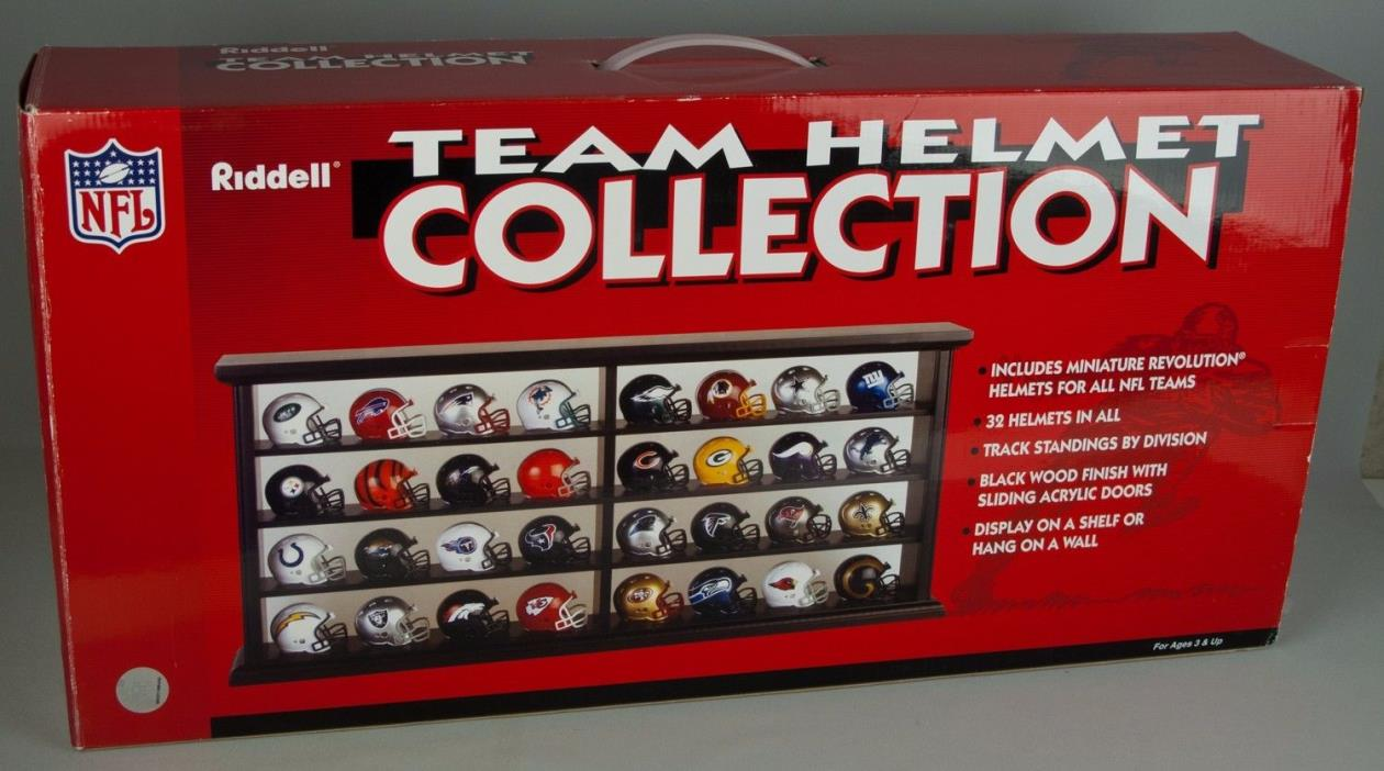 Riddell NFL Mini Helmet Collection w/ Display Case and Box 32 Teams Nice Set