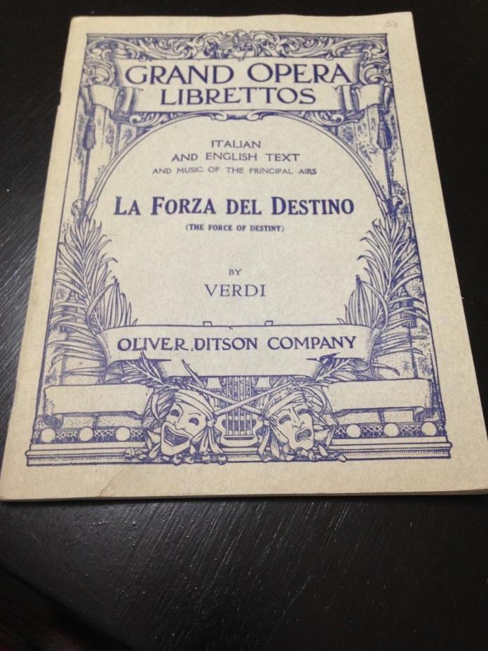 RARE GRAND OPERA LIBRETTO LA FORZA DEL DESTINO (The Force of Destiny ) by VERDI