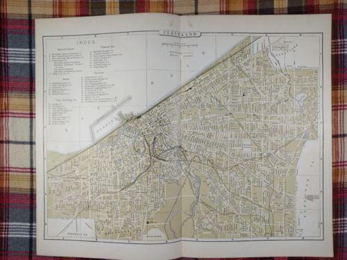 CLEVELAND OHIO Map 1896 Antique Original Johnson's CC&S Railroad RR MAPZ35