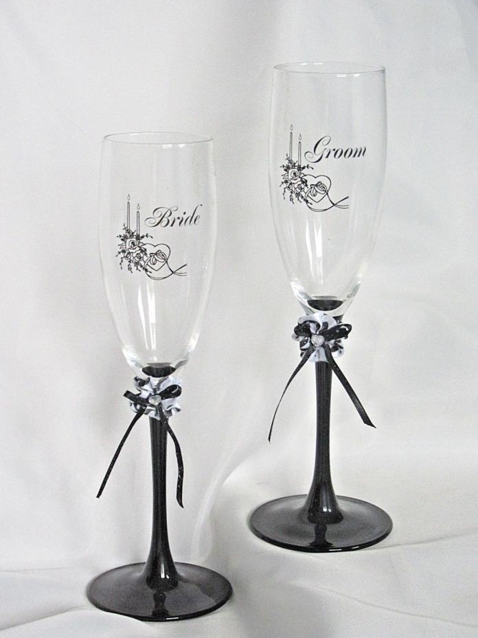 2 BRIDE GROOM Wedding Toasting GLASS Flutes TALL 8 3/4