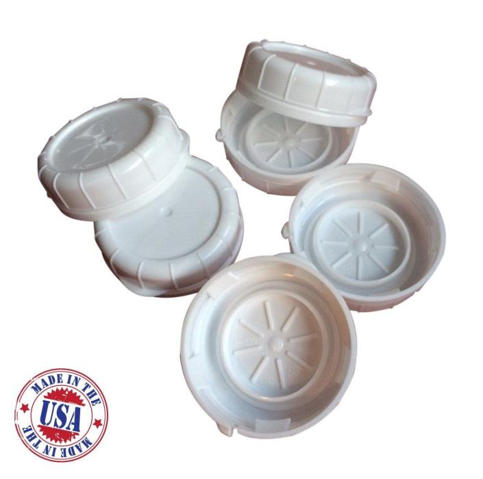 Glass Milk Bottle Caps 6 Pack 48mm White Snap On Lids Libbey & Stan-Pac