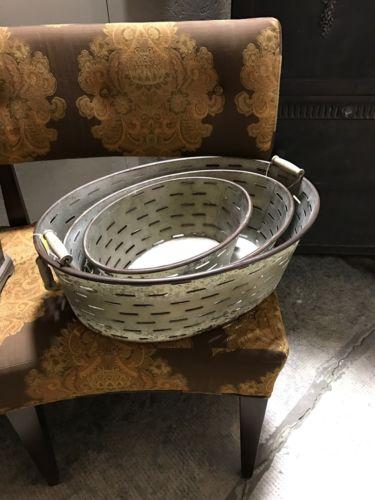 Olive Tubs Metal Buckets Farmhouse Baskets Vintage Decor Park Hill Rustic