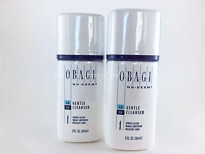 OBAGI NU-DERM GENTLE CLEANSER 2 OZ. TRAVEL SIZE SET OF 2 - 4 OZ TOTAL!