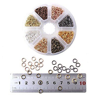 1 Jump Rings Box 8 Colors 2400 Pcs Iron Plated Jump Rings Unsoldered 6mm Jewelry