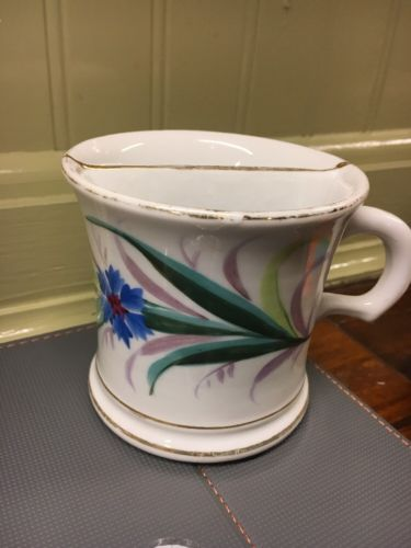 Vintage Hand Painted flowers Mustache Shaving mug cup