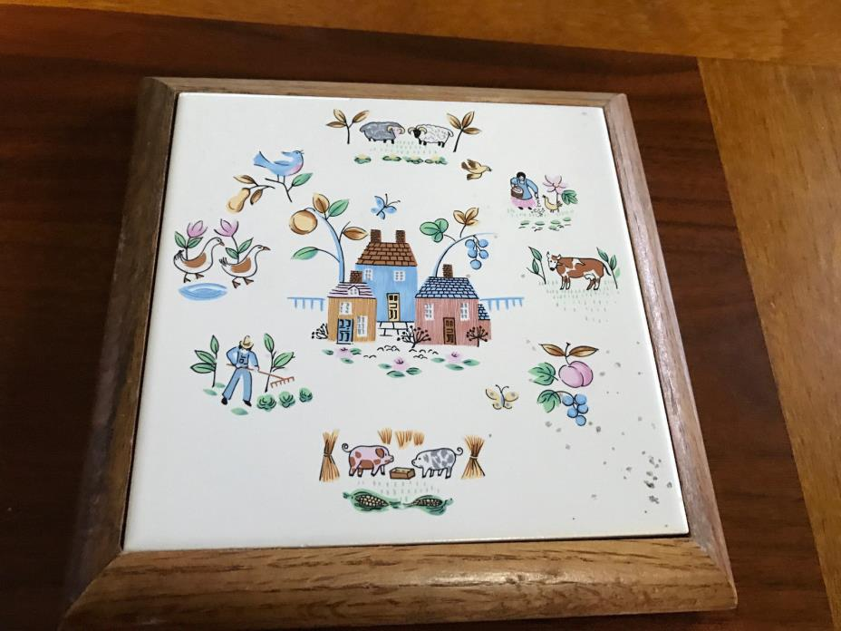 FARM HOUSE PIG COW LAMB TRIVET WALL HANGING  WOODEN FRAME