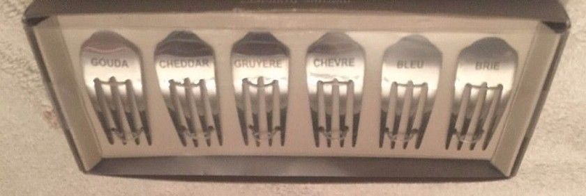 Pier 1 MARQUE FORMAGES ~ Fork shaped  ~ CHEESE MARKERS ~ set of 6 ~ NEW IN BOX