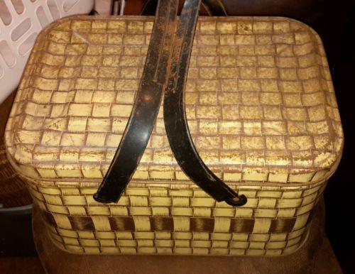 Vintage Metal Picnic Basket Faux Wicker Sewing Basket