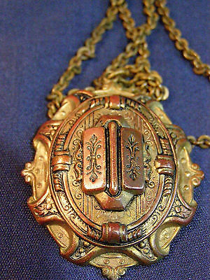 Vintage Brass or Bronze Pendant, Hidden locket