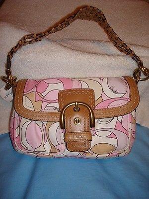 COACH Pink  Multi Print Flap Purse Bag NEW 11909 bag receipt