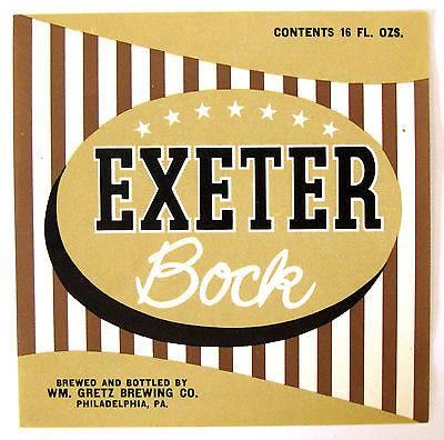 Wm Gretz Brewing EXETER BOCK beer label PA 16 oz