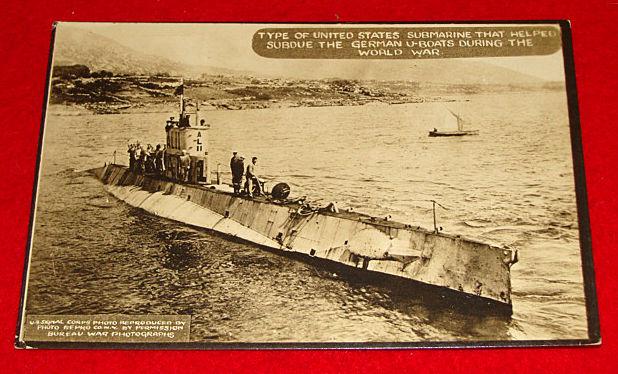 Vintage WWI Postcard US Submarine / U-Boat Hunter - Signal Corps Real War Photo