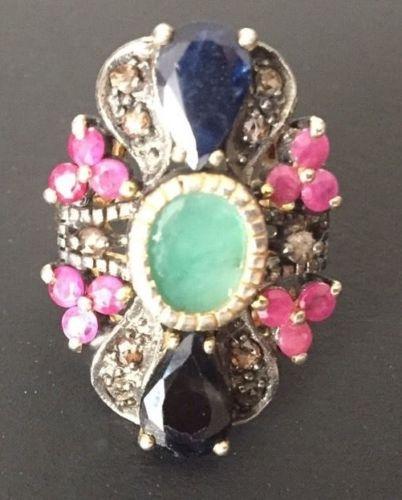 Biedermeier 19c Emerald,Sapphires, Rubbies,Diamonds 14K Yellow Gold &Silver Ring