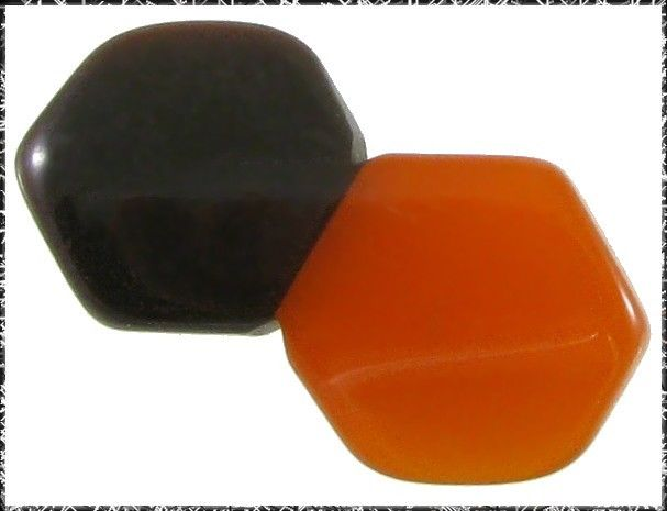 Vintage Art Deco 2-Color Bakelite Button - Orange & Brown Hexagons