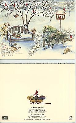 WINTER FLOWER GARDEN SNOW CARDINAL BIRD SQUIRRELS BEEHIVE COUNTRY BENCH 1 CARD