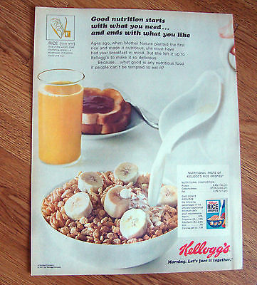1971 Kellogg's Cereal Ad  Rice Krispies Good Nutrition Starts