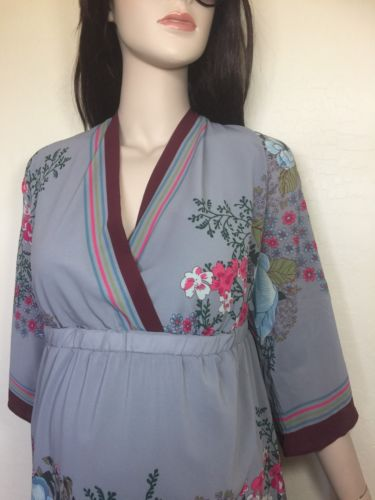 New OLD NAVY Plus XXL Maternity Gray with Floral Print Lined Dress Elastic Waist