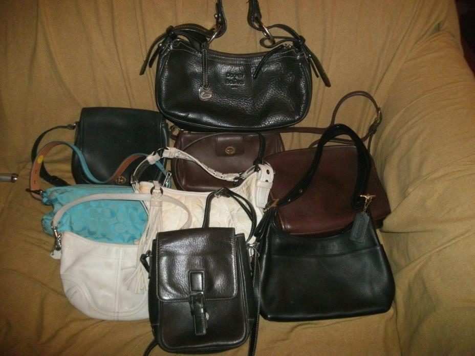 Lot Of 8 Coach/1 Dooney& Bourke handbags - see pictures
