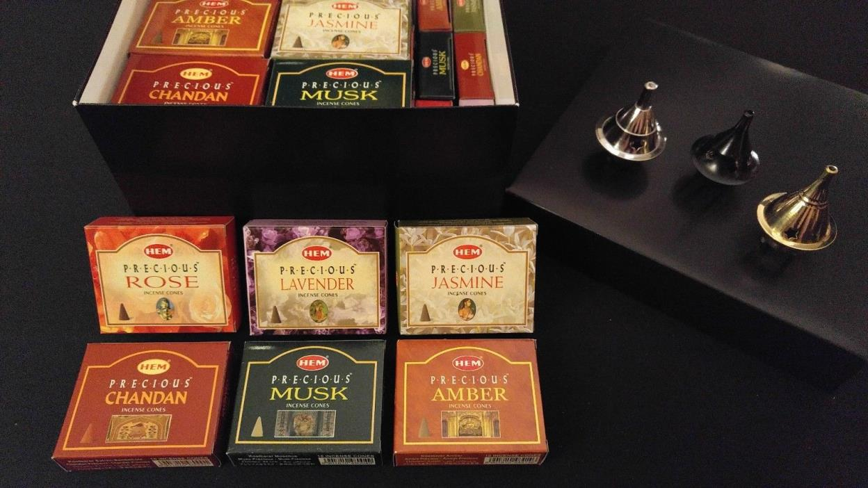 PRECIOUS HEM Incense Cones Set: 6 Scents x 7 Boxes Of 10 = 420 Cones + 3 Burners