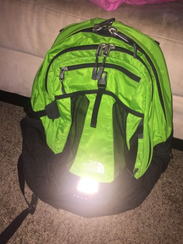 North face Men's Womens Laptop Backpack Real Green Blue Black Used T118