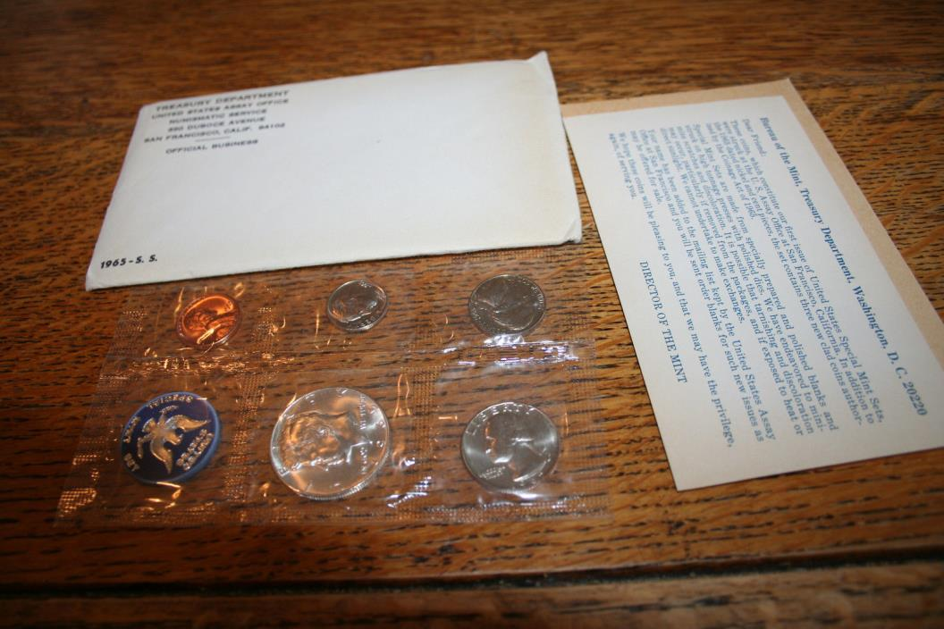 1965,US Coin Special Mint Set,40% Silver Kennedy Half,5 Coin Set,Free Shipping!!