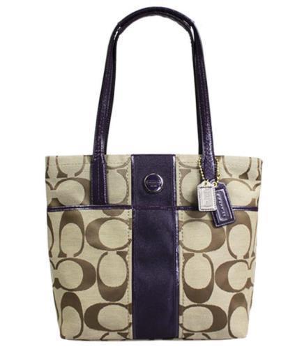 NEW Coach Signature Stripe Tote Purse Handbag 25771