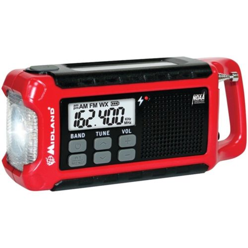 Midland Emergency Crank Radio, rechargeable battery, crank dynamo, solar charger