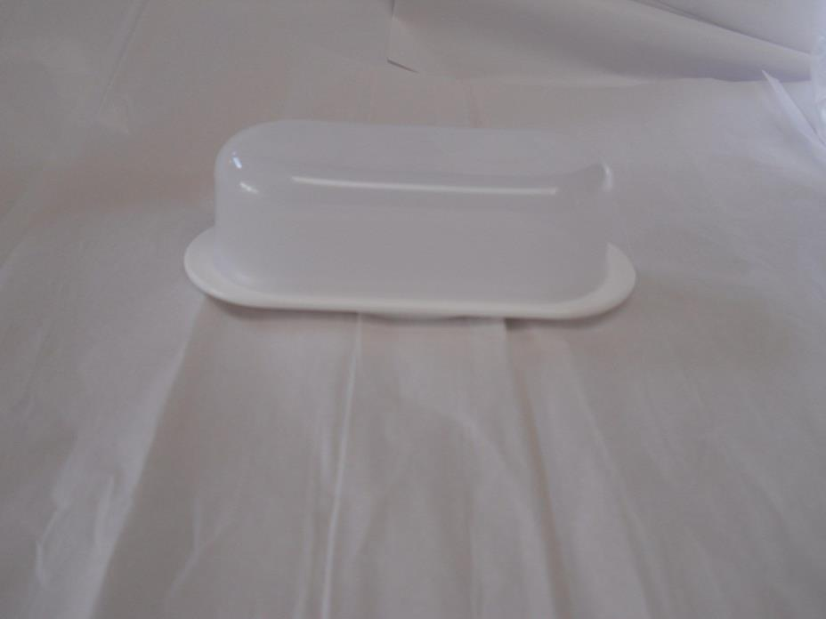 Tupperware Impressions Small Butter Dish Clear with Snow White Base NEW