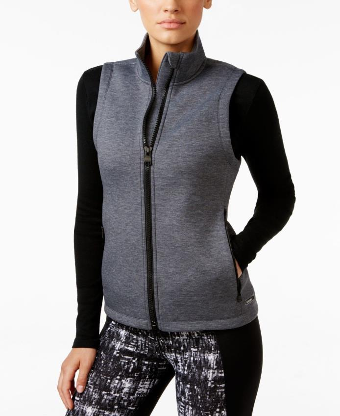 Calvin Klein Performance Womens New Full-zip Scuba-Neck Vest Gray S $79 #13-54