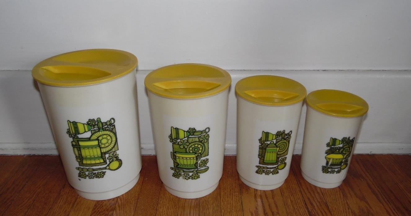 VINTAGE 4PC WITH LIDS NESTING YELLOW GREEN KITCHEN LUSTRO WARE RETRO CANISTERS
