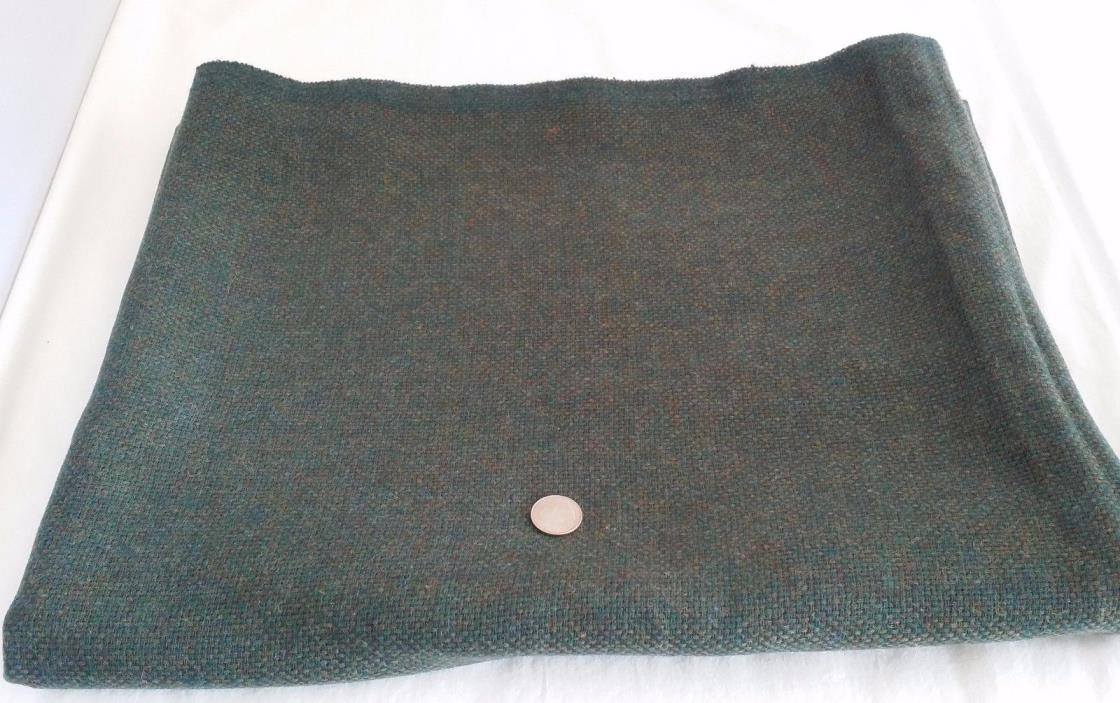 Vintage Green Brown Blue Woven Wool Fabric 2 YDS
