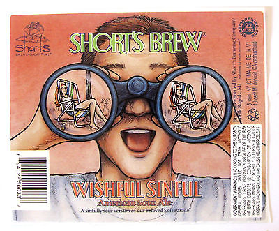 Short's Brew WISHFUL SINFUL beer label MI 22oz STICKER