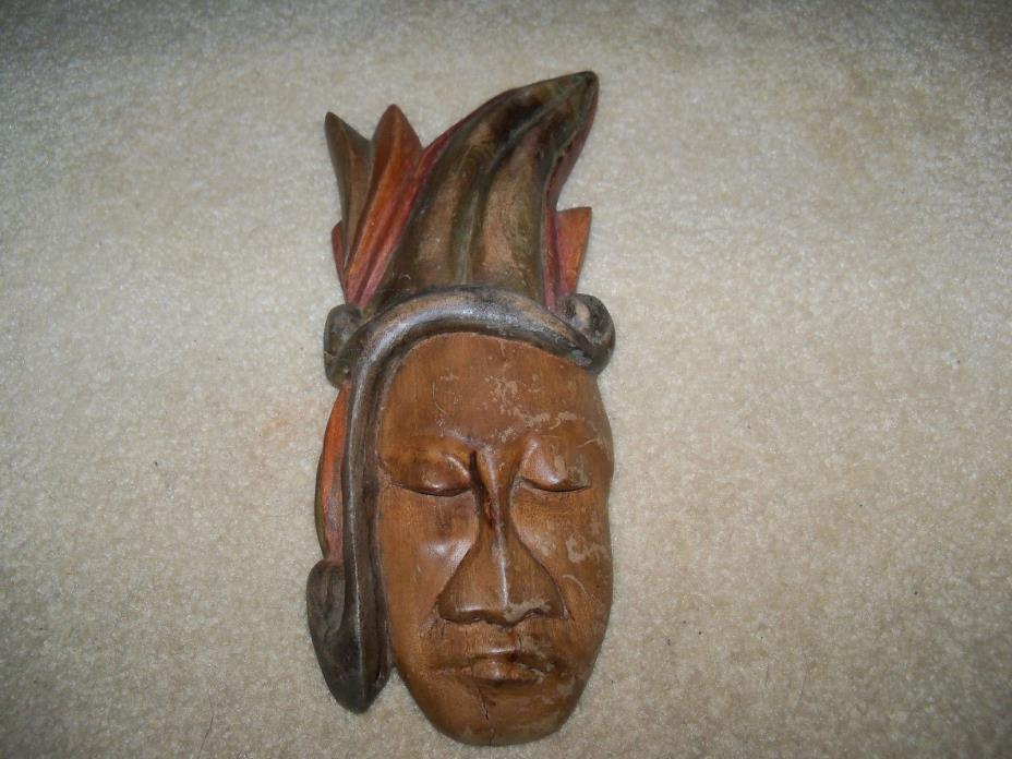 VINTAGE INDIAN MASK HAND CARVED WOOD TRIBAL ART WALL DECOR