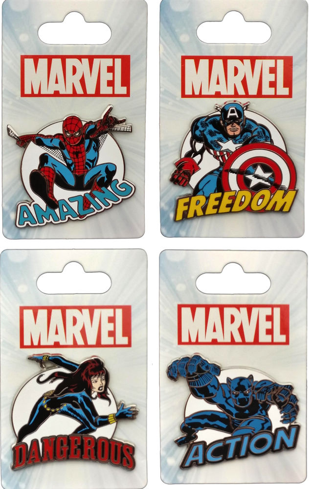Marvel Disney Pin Set : Captain America , Black Widow, Spider-man, Black Panther