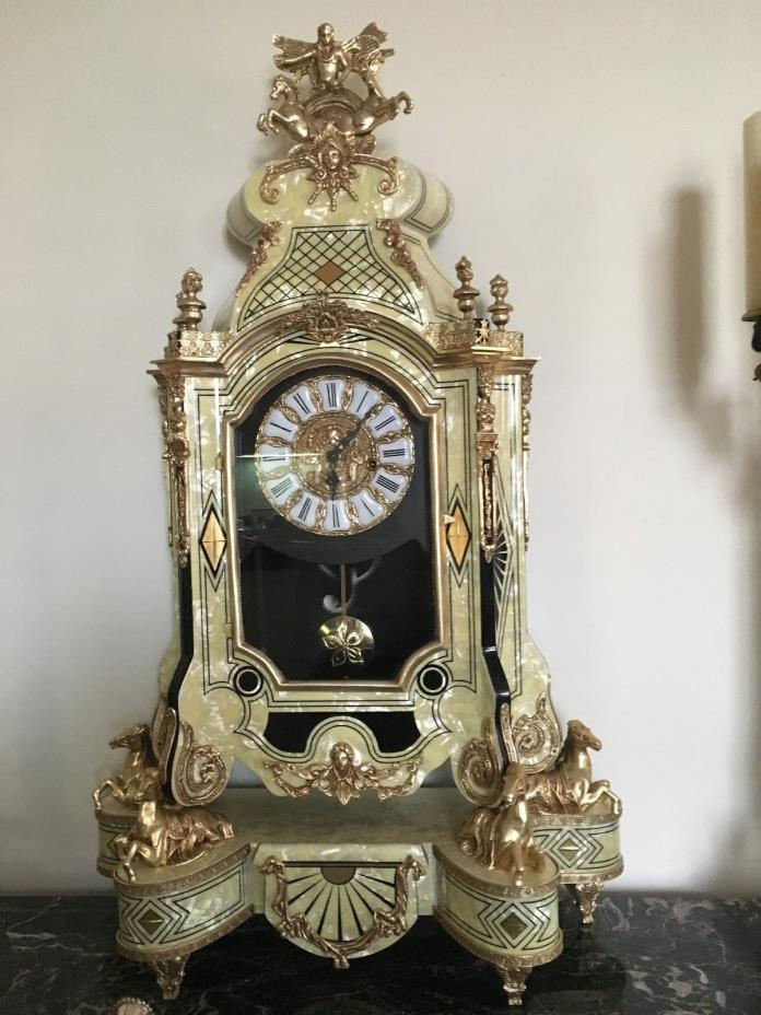 Monunemtal Commissioned Italian Mother of Pearl and Bronze Clock