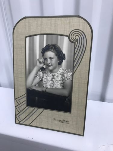 Vintage Art Deco Embossed Cardboard Photo Easel Frame Mat Pressed Paper + Pic