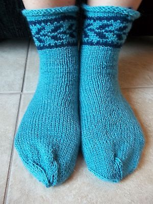 Hand knitted wool blend socks with Latvian design, turquoise blue