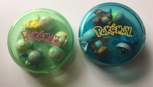 2 Sets of 3 POKEMON Roll & Play Stampers 1997
