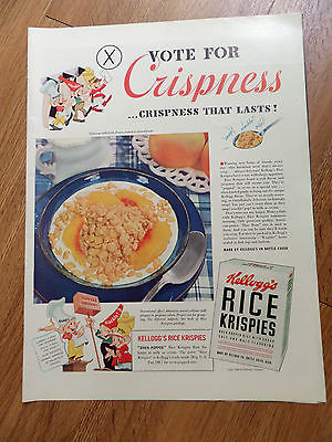 1940 Kellogg's Ad Rice Krispies Snap Crackle Pop Guys Voting Booth Theme