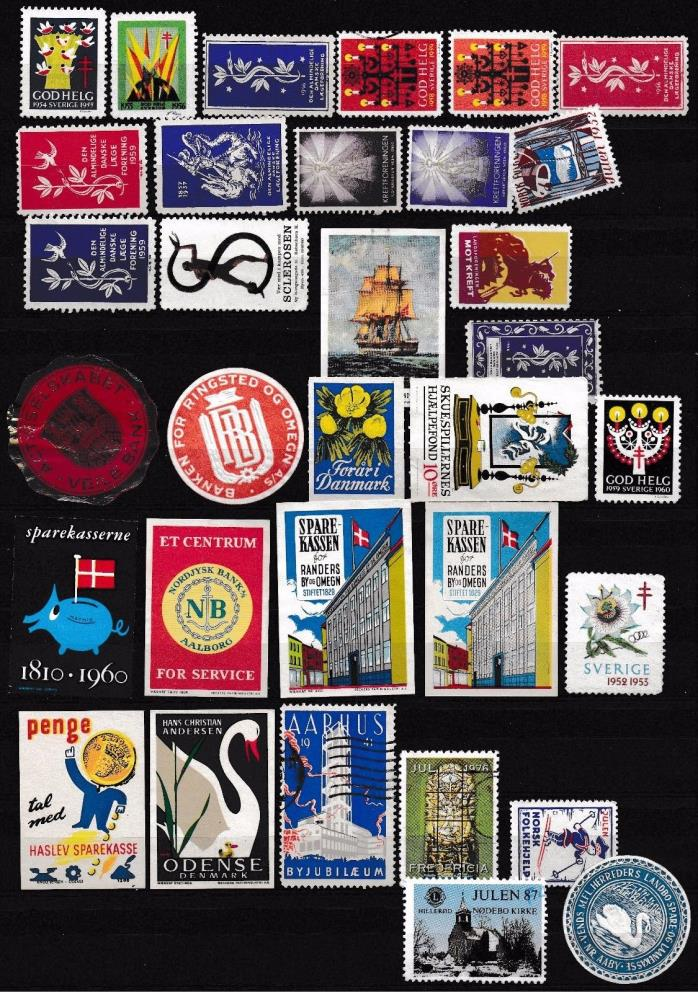 Denmark stamps, labels, odd things