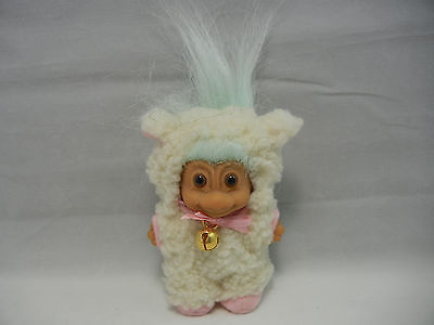 """Russ 3"""" EASTER LAMB Troll Doll with Light Blue Colored Hair ….LOOK!!"""