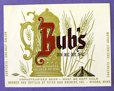 Peter Bub BUB'S BEER label MN One-Half Gallon