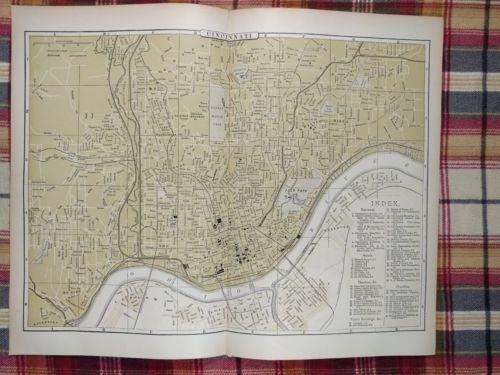 CINCINNATI OHIO Map 1896 Antique Original Johnson's Balt Ohio Railroad RR MAPZ32