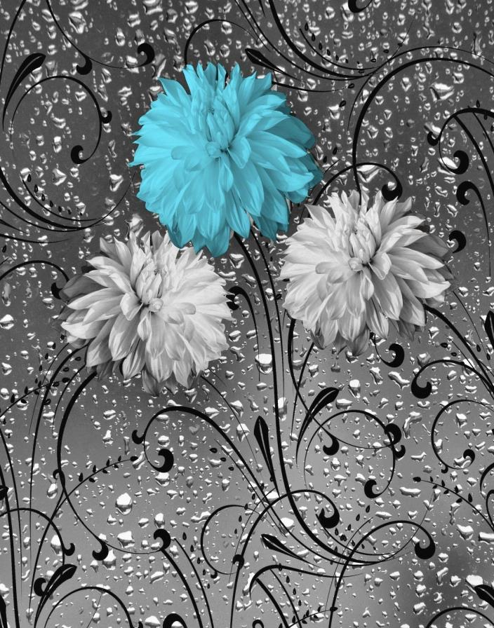 Blue Gray Bathroom Powder Room Floral Wall Decor, Blue Gray Matted Wall Picture