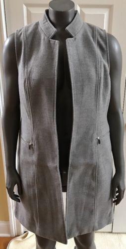 New Calvin Klein Women's Open Front Long Gray Vest Size 14. Very Soft